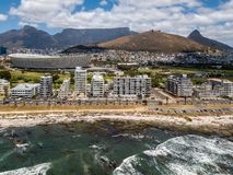 Aerial photo of Cape Town and Tabble Mountain stock images