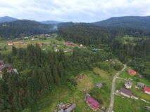 Aerial photo of Carpathian forest Royalty Free Stock Photo