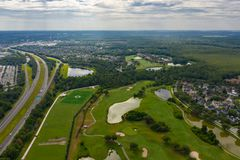 Aerial photo Celebration FL golf course landscape near highways royalty free stock photography