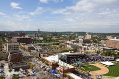 Aerial photo of the center of Akron Royalty Free Stock Photography