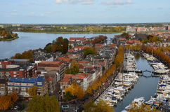 Aerial photo of the city Dordrecht, Netherlands Stock Image
