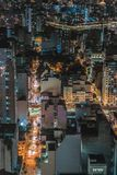 Aerial Photo of City at Nighttime Stock Photo