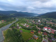 Aerial photo of the cloudy Carpathian mountains Royalty Free Stock Photography