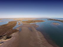 Aerial Photo of the Coorong. Aerial photograph of the River Murray Mouth in South Australia. Murray River Mouth flows out to the ocean with sandbars all around Royalty Free Stock Images