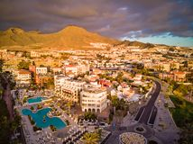 Aerial photo of Costa Adeje stock images
