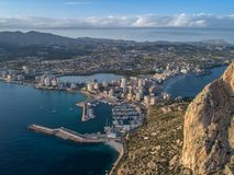 Aerial photo of costal town with view point from the Peñon de Ifach. Prety summer sunset. Calpe, Alicante province, Spain 4. Aerial photo of costal town with stock images
