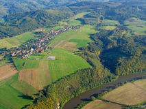 Aerial photo of countryside. A farmland in central Europe. West Bohemia, European union Stock Photography