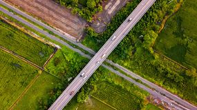 Aerial Photo Countryside Car Running on Road Bridge Over Railway. Bypass route the City Drone Top View Royalty Free Stock Photography