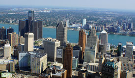 Outsource to Detroit. An aerial photo of downtown Detroit buildings and river Royalty Free Stock Photos