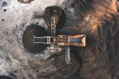 Aerial photo of a dirt and soil screener sorter taken from above royalty free stock images