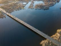 Aerial photo of the Dnieper and the North Bridge in April. Kiev, Ukraine Stock Photo
