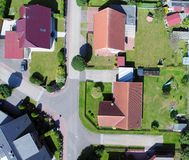 Aerial photo with the drone, anew build-up plot with single hous Royalty Free Stock Image