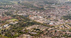 Aerial photo of the Dutch city of Breda. Aerial photo of the city center of Breda, North Brabant, the Netherlands. The photo was taken from an airplane at the royalty free stock image