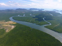 Aerial photo of estuaries and strait. On Ko Lanta island, Thailand Stock Photos