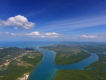 Aerial photo of estuaries and strait. Aerial view on estuaries and strait on Koh Lanta island, Thailand Stock Photos