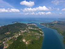 Aerial photo of estuaries and strait. Aerial view on estuaries and strait on Koh Lanta island, Thailand Stock Photography