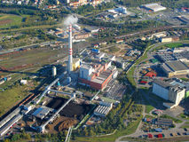 Aerial photo of factory. Aerial photo of a factory with railway station. City Pilsen, Czech republic, European union stock photos