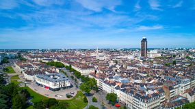 Aerial photo of Feydeau district in Nantes city center stock photo