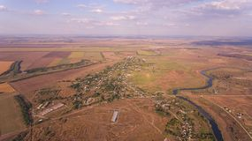 Aerial photo of fields and river. Royalty Free Stock Photography