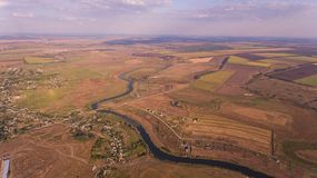 Aerial photo of fields and river. Stock Images