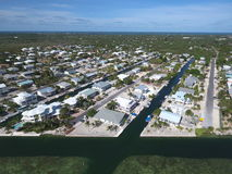 Aerial photo Florida Keys homes Royalty Free Stock Image