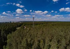Aerial photo of forest landscape called Tennenloher Forst near the village Tennenlohe Stock Photo