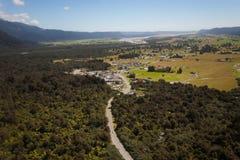 Aerial photo Fox Glacier Township - New Zealand royalty free stock photo