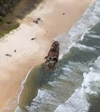 Aerial photo of Fraser Island ship wreck. Stock Photos