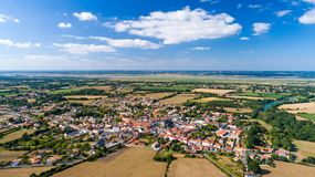 Aerial photo of Frossay village Stock Image
