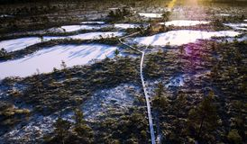 Aerial Photo of Frozen Lakes Surrounded by Trees Stock Photography