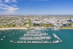 Aerial photo of Geelong in Victoria, Australia. Aerial photo of city centre of Geelong in Victoria, Australia stock image