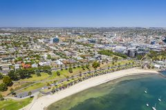 Aerial photo of Geelong in Victoria, Australia. Aerial photo of city centre of Geelong in Victoria, Australia royalty free stock images