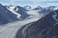 Aerial photo glacier. Aerial photo of a glacier between mountains in alaska Stock Images