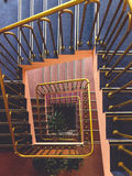 Aerial Photo of Gold Balustrade and Blue and Brown Stairs Royalty Free Stock Images