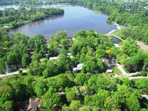 Aerial photo of goshen dam pond. From the south. Views of the Best Dam Neighborhood in foreground Stock Photo