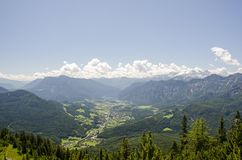 Aerial Photo of Green Mountains Near Cumulus Clouds Under Blue Sky Stock Photography