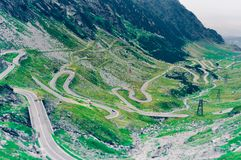 Aerial Photo of Green Scenery and Winding Road Stock Photo