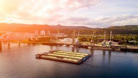 Aerial photo of harbor cranes royalty free stock images