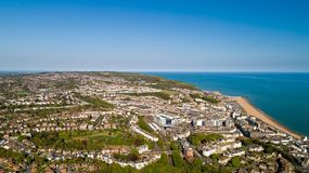 Aerial photo of Hastings, East Sussex, England. Aerial view of Hastings city and beach, East Sussex, England stock photography