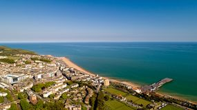 Aerial photo of Hastings, East Sussex, England. Aerial view of Hastings city and beach, East Sussex, England royalty free stock photo