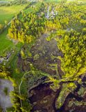 Aerial photo high above the Cheam Lake Wetlands Regional Park, Rosedale, British Columbia, Canada stock image