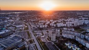 Aerial Photo of High Rise Building during Sunrise Royalty Free Stock Photography