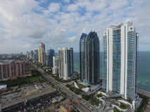 Aerial photo of highrise condominiums on the ocean Royalty Free Stock Photography