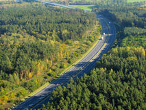Aerial photo of a highway. Going through the forest. D5 highway in Czech republic, European union Stock Photos