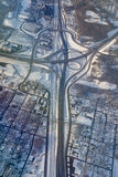 Aerial photo of highway intersection. In winter Royalty Free Stock Photo