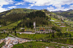 Aerial photo of hillside constructions in Quito Stock Photography
