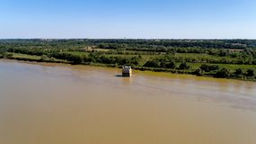 Aerial photo of the house flooded in the Loire river, Coueron royalty free stock image