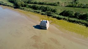 Aerial photo of the house flooded in the Loire river, Coueron stock photo