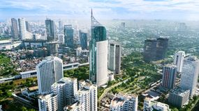 Aerial photo of iconic BNI 46 Tower Jakarta Indonesia. JAKARTA - Indonesia. March 12, 2018: Aerial photo of iconic BNI 46 Tower with located in South Jakarta stock image