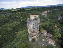 Aerial photo Katskhi pillar and the Orthodox Church on it royalty free stock images
